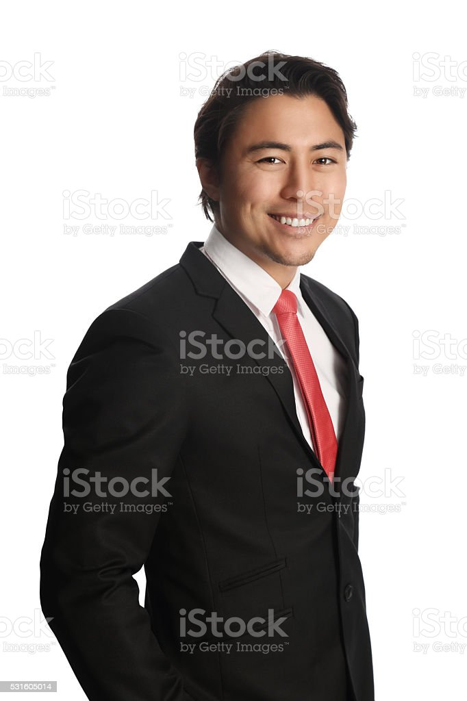 Attractive businessman in suit stock photo