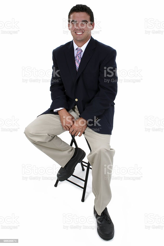 Attractive Businessman Sitting On Stool royalty-free stock photo