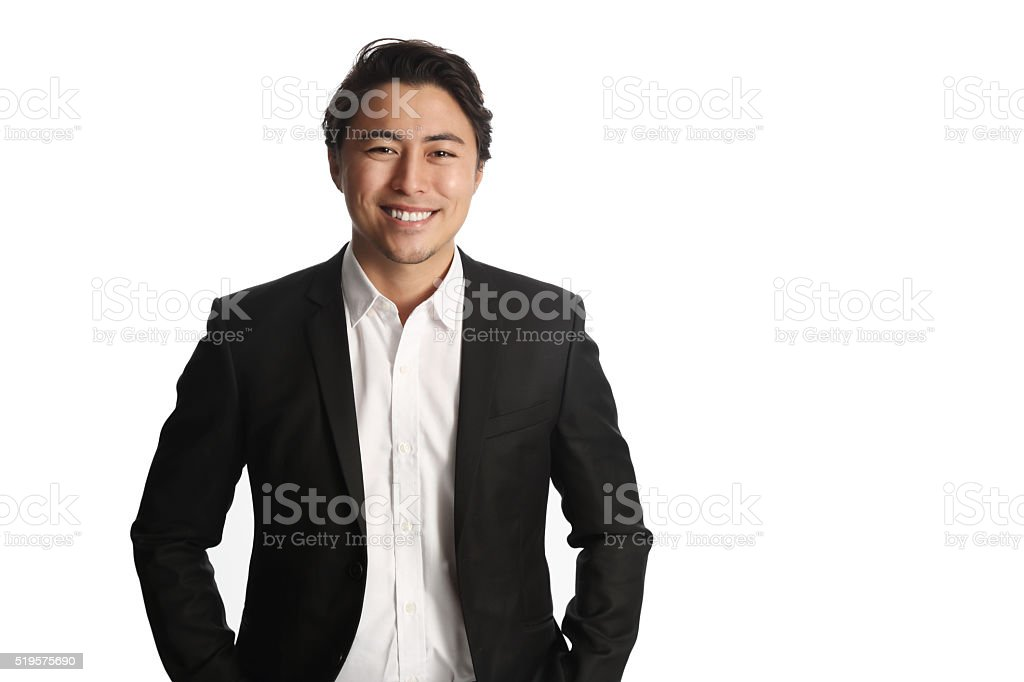 Attractive businessman smiling stock photo