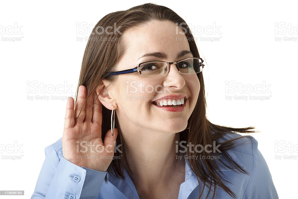 attractive businesswoman hearing royalty-free stock photo
