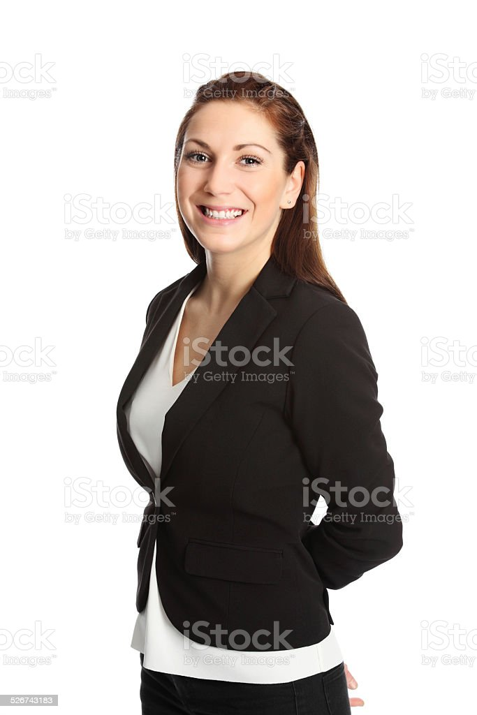 Attractive businesswoman in a suit stock photo