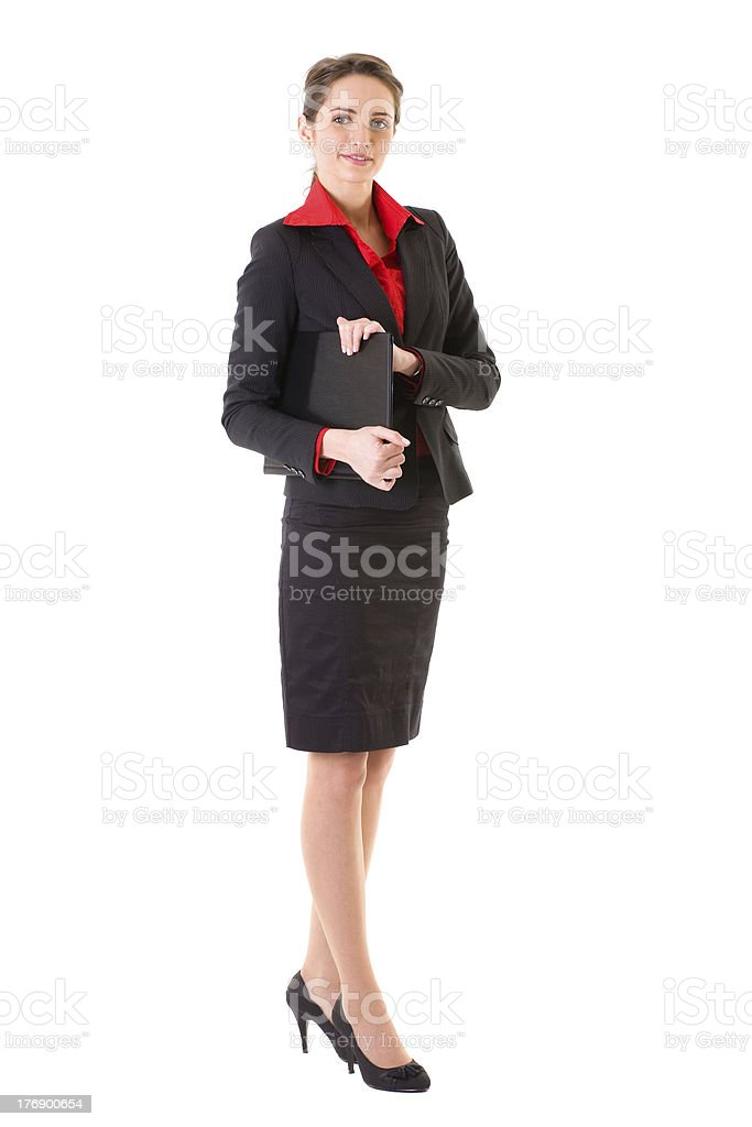 attractive businesswoman in red shirt and jacket, isolated on white stock photo