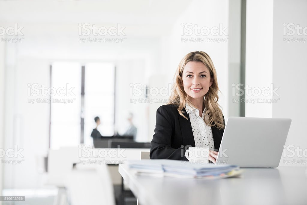 Attractive businesswoman using laptop, smiling stock photo
