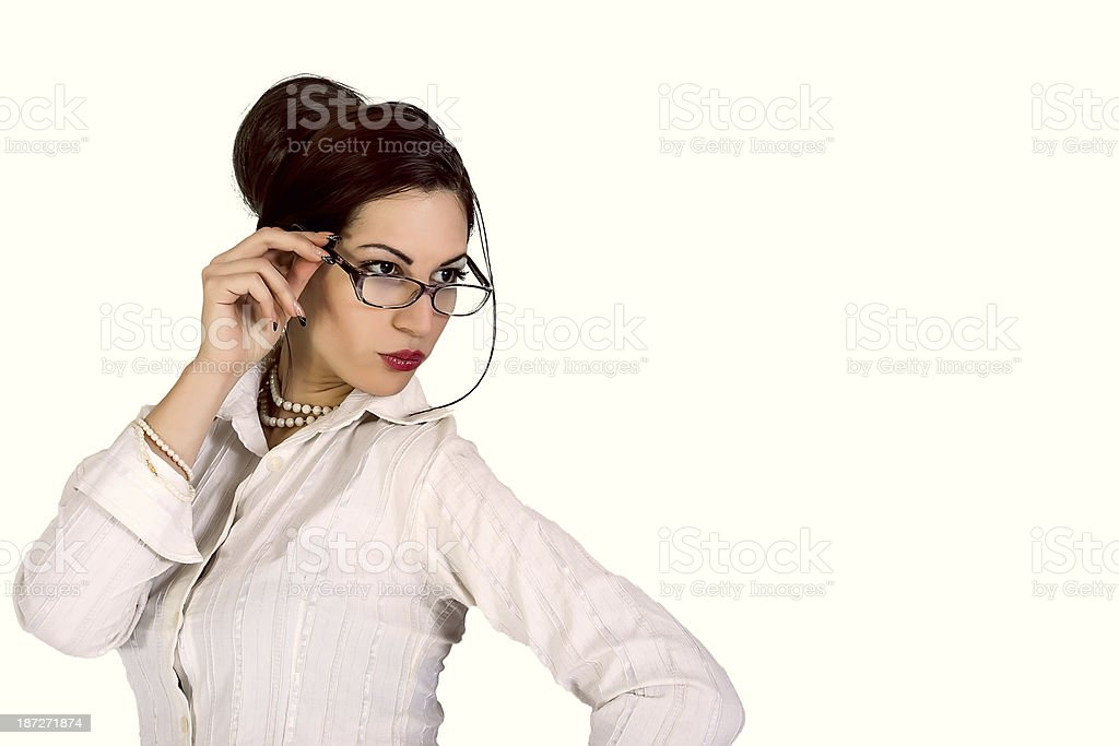 attractive businesswoman wearing eyeglasses royalty-free stock photo
