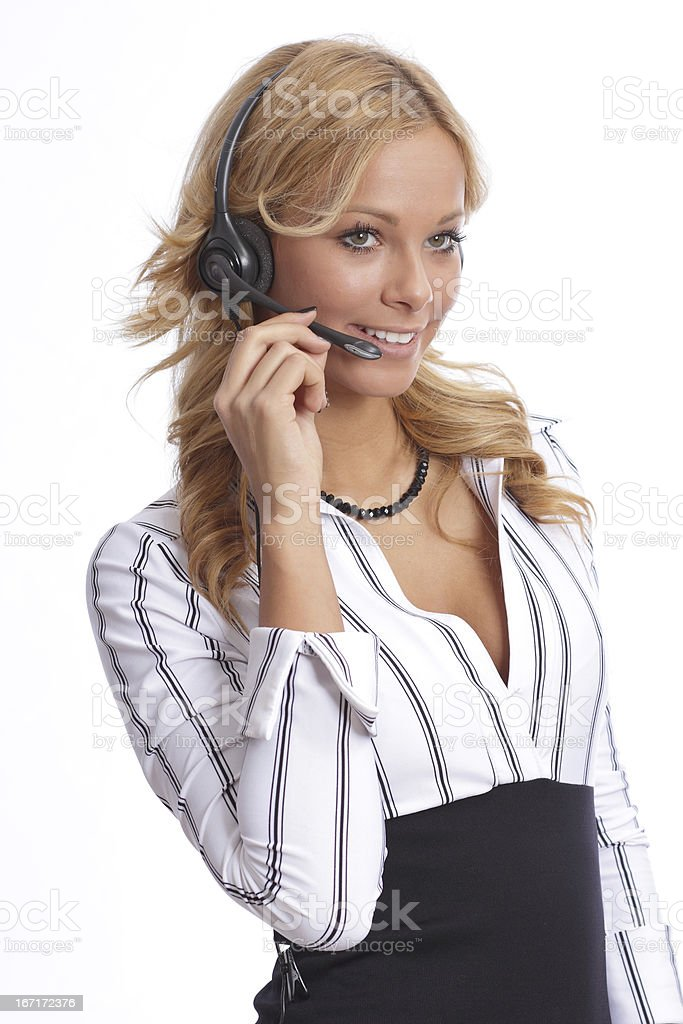 Attractive businesswoman with headset royalty-free stock photo