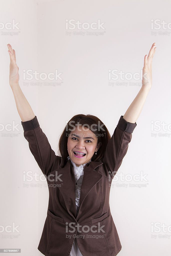 Attractive Businesswoman With Her Arms in The Air for Success stock photo