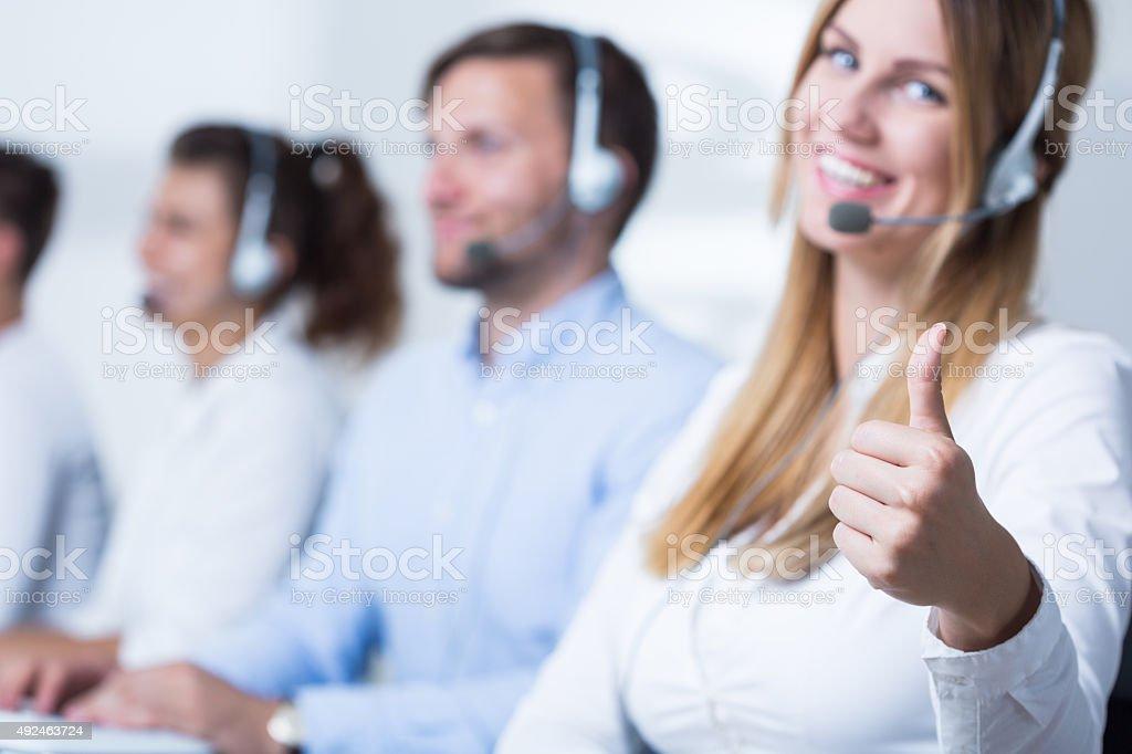 Attractive call center operator stock photo