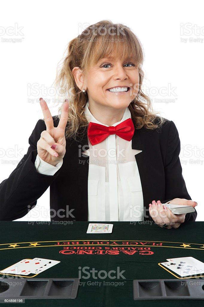 Attractive casino worker stock photo