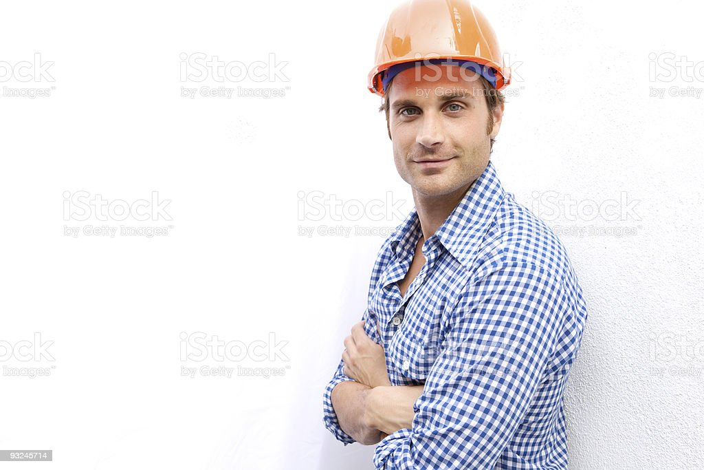 Attractive construction worker stock photo