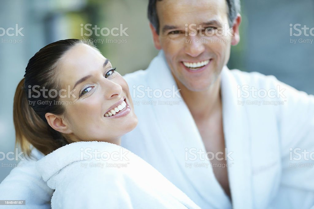 Attractive couple at spa royalty-free stock photo