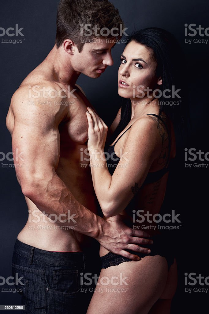 Attractive couple being romancing stock photo