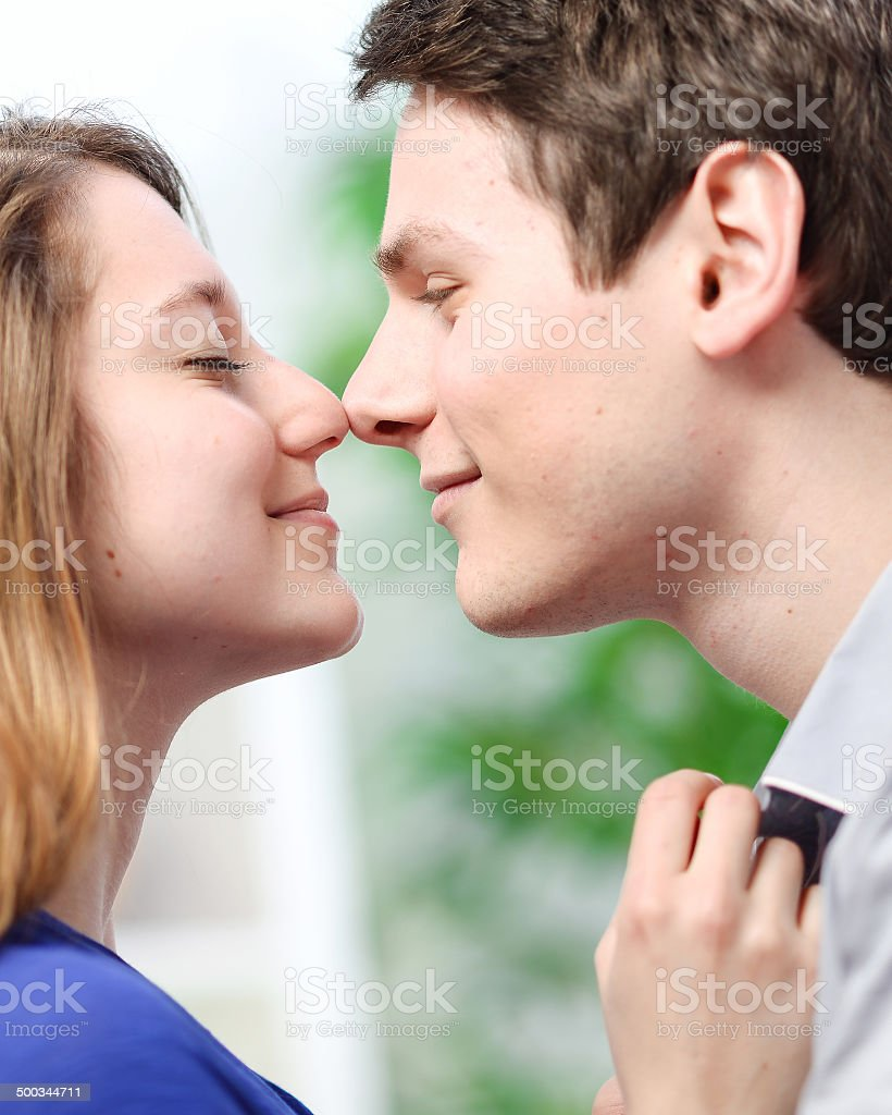 Attractive couple of lovers look at each other with love royalty-free stock photo