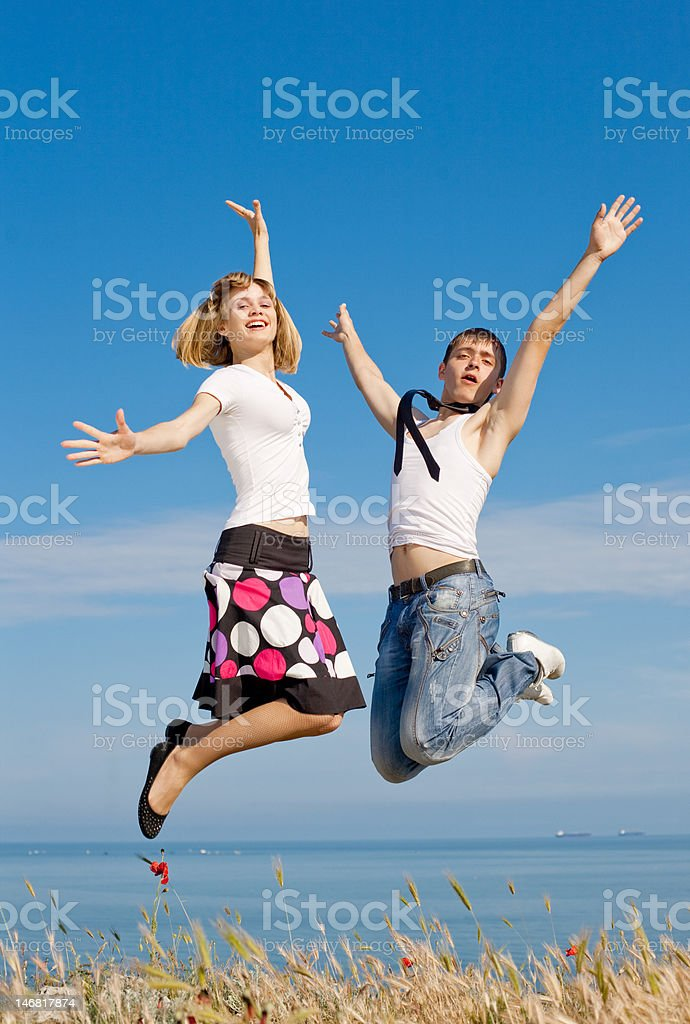 Attractive couple on background of sky royalty-free stock photo