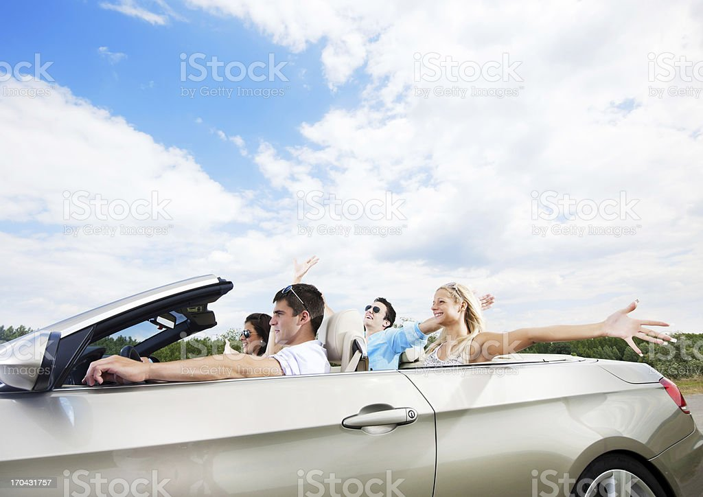 Attractive couples enjoying in the road trip. royalty-free stock photo