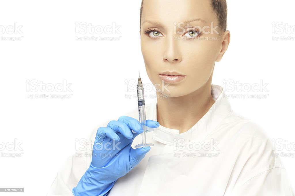 .Attractive doctor prepare to Injection of beauty products. royalty-free stock photo