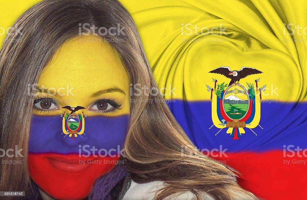 Attractive Ecuadorian woman in front of flag stock photo