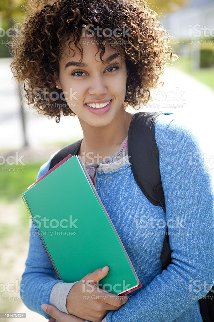 Attractive ethnic student royalty-free stock photo