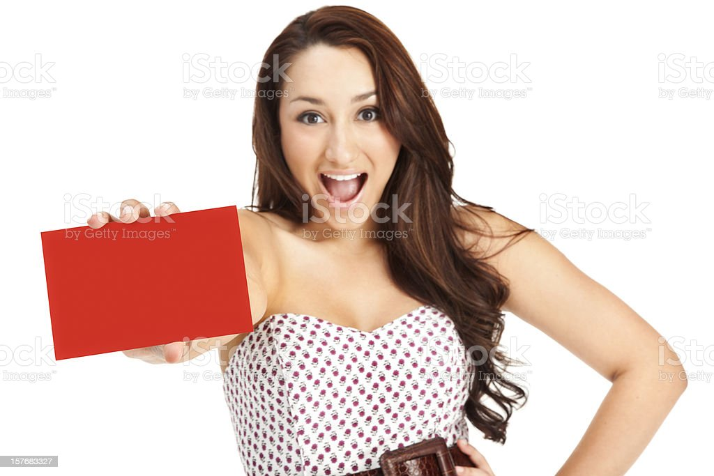 Attractive Excited Young Woman with Blank Gift Card royalty-free stock photo