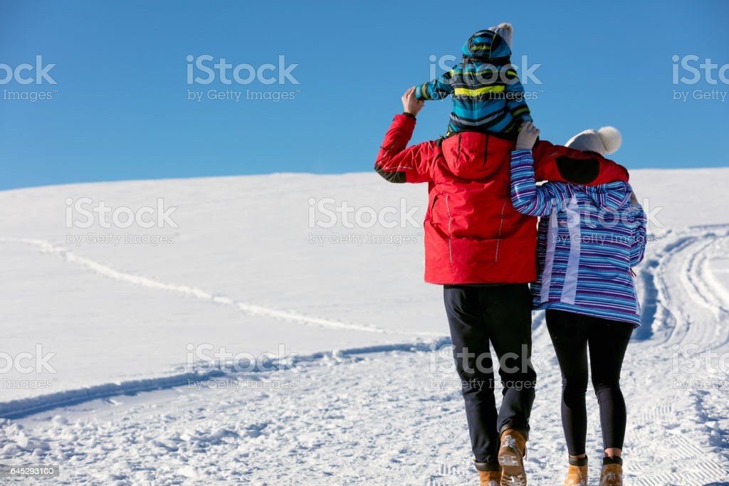 Attractive family having fun in a winter park on mountain stock photo