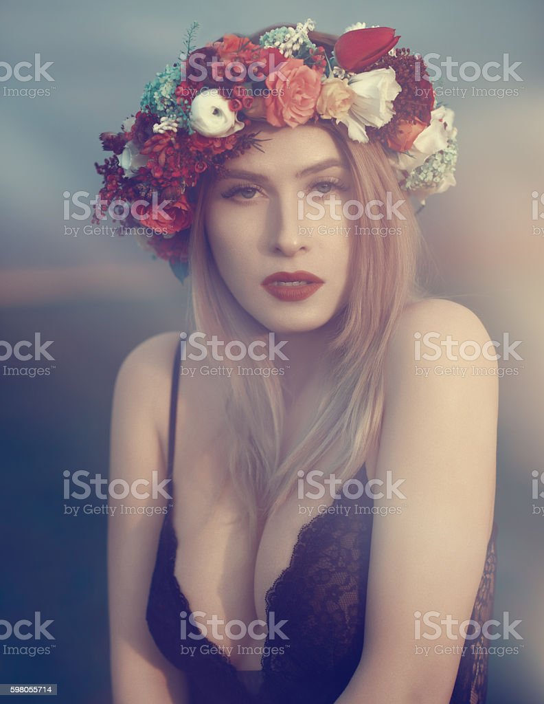 attractive fashion model in the sunset stock photo