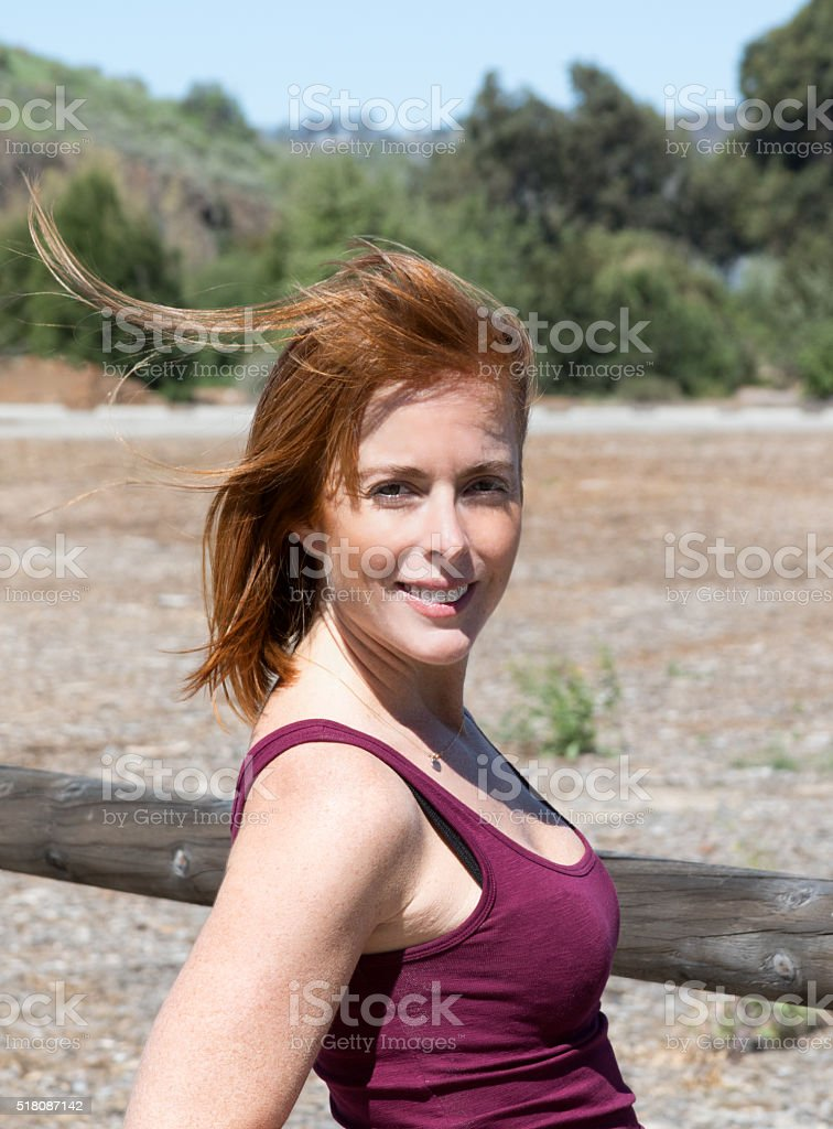 Attractive Female Adult Facing The Camera stock photo
