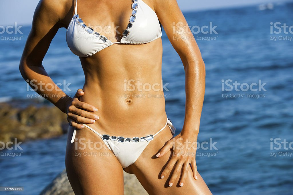Attractive female body tan. stock photo
