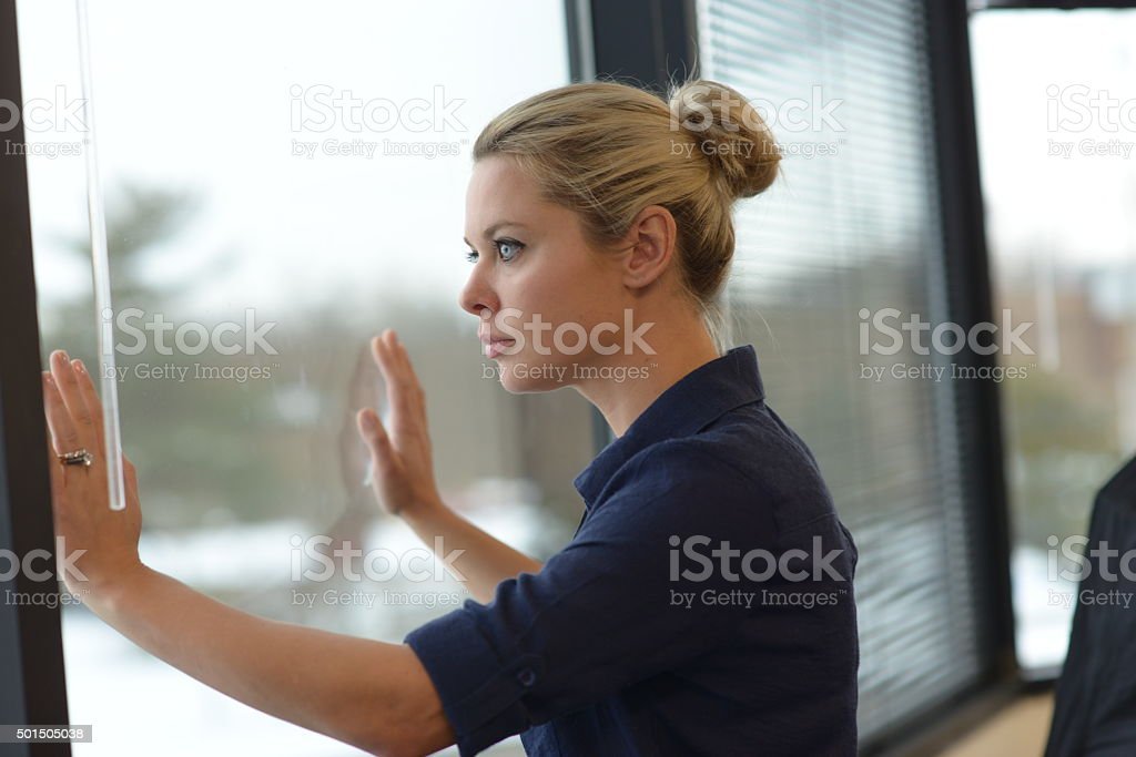 Attractive female business woman stock photo