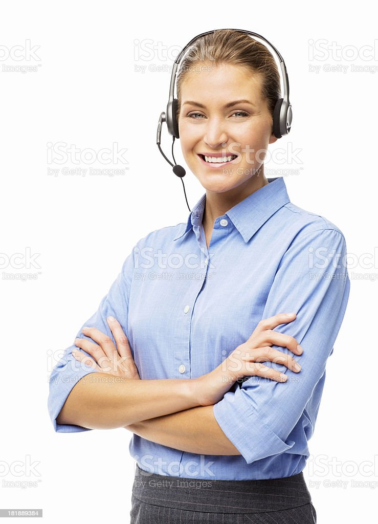 Attractive Female Call Centre Representative - Isolated stock photo