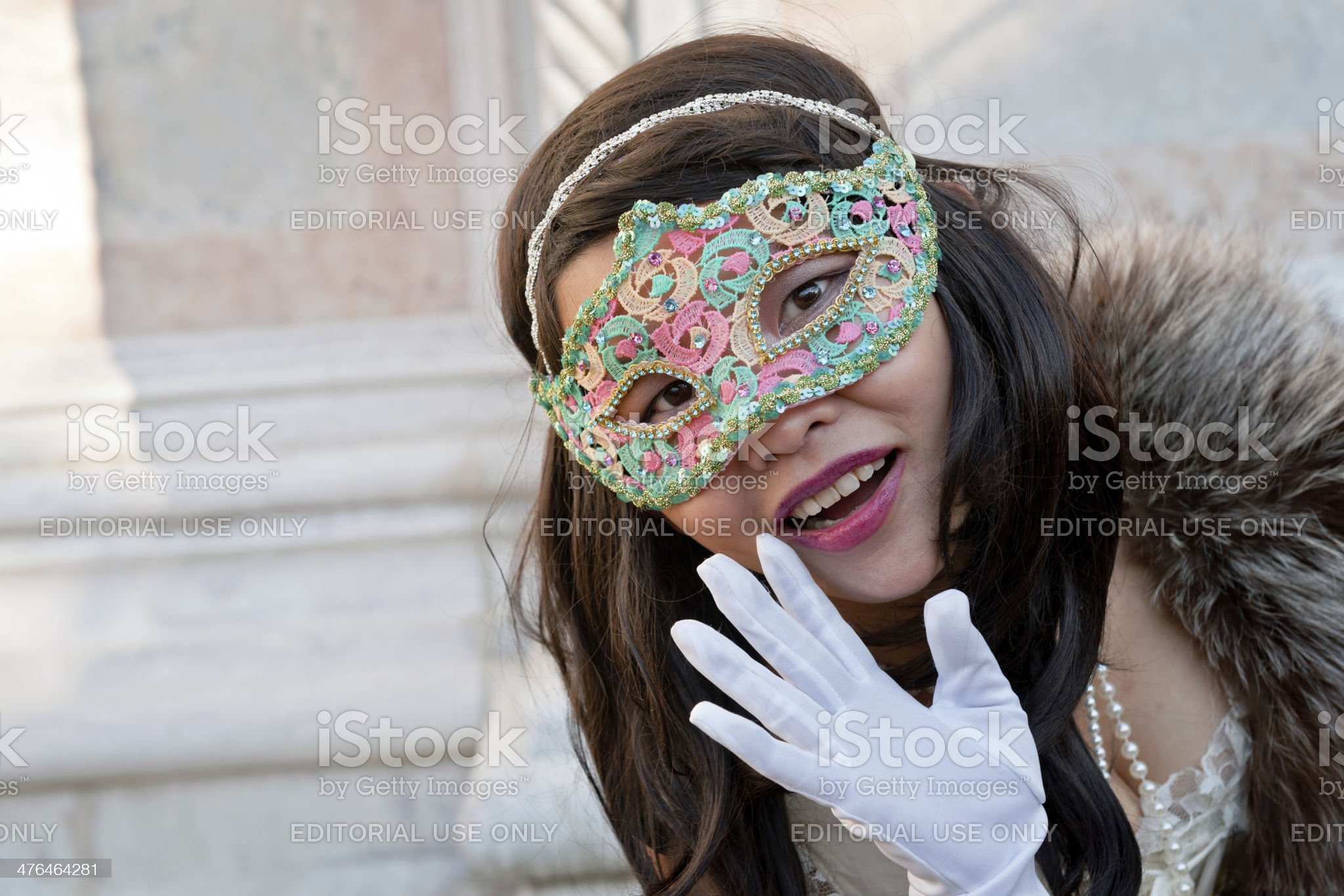 Attractive Female Mask, Venice 2014 Carnival, Italy royalty-free stock photo