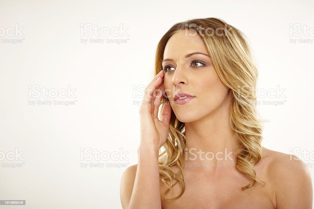Attractive female model looking away at copyspace royalty-free stock photo