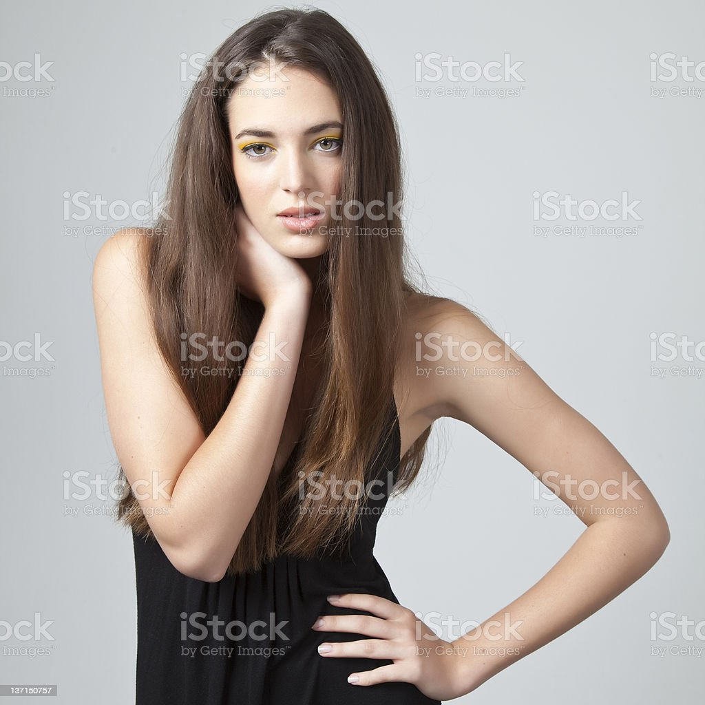 Attractive female model with long hair royalty-free stock photo