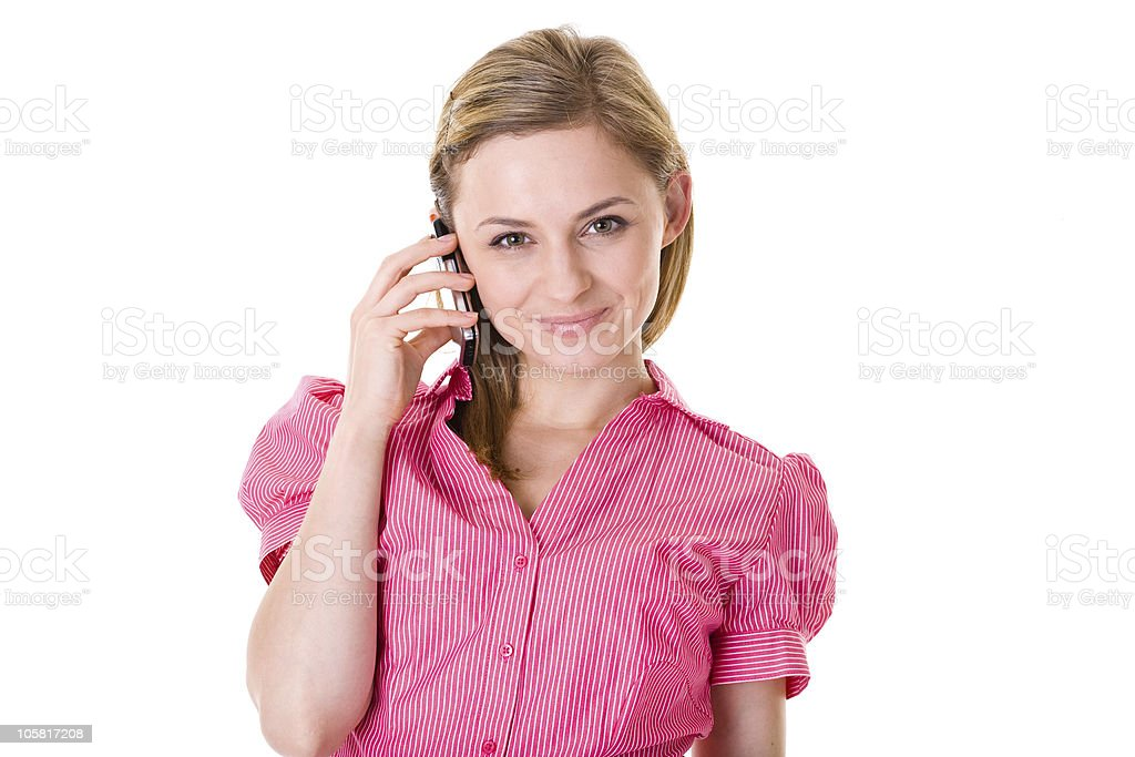 attractive female talks over mobile phone, isolated on white stock photo