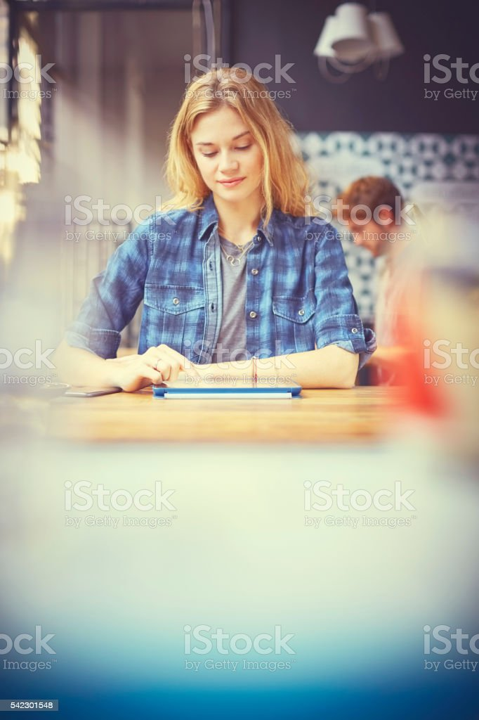 Attractive female using digital tablet in cafe stock photo