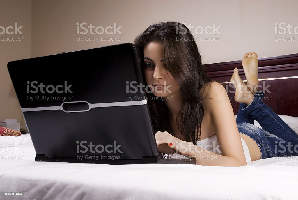 Attractive female with laptop royalty-free stock photo