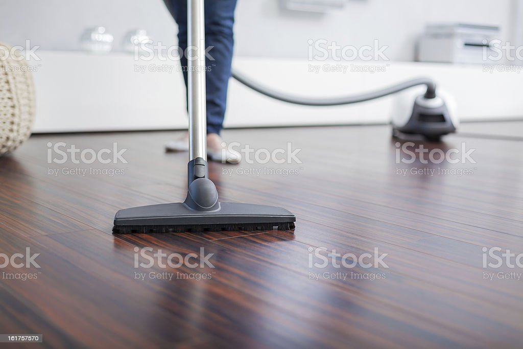 Attractive Female with Vacuum Cleaner stock photo