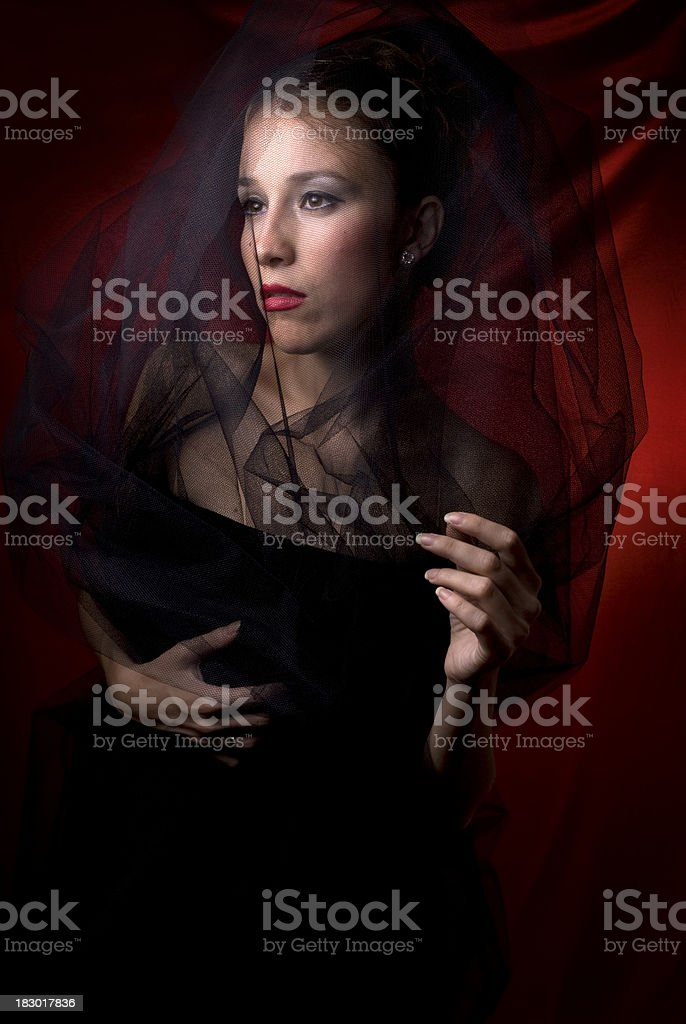 Attractive female wrapped black tulle royalty-free stock photo