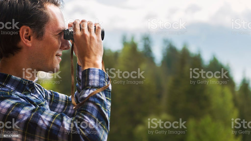 Attractive Forester at Work in the Mountains stock photo