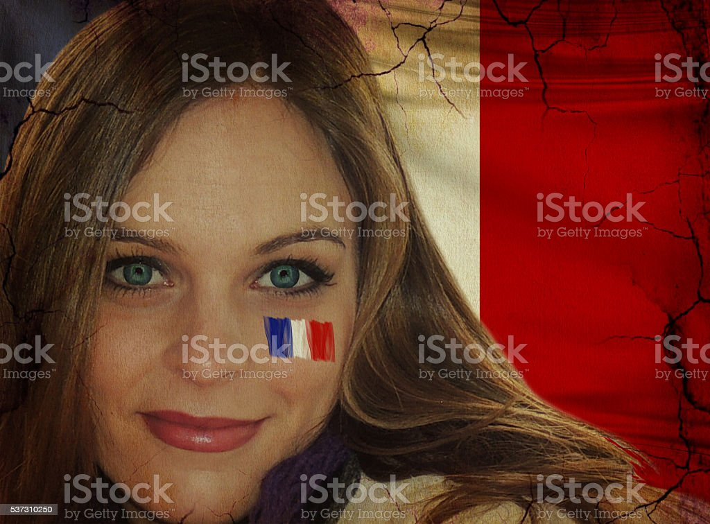 Attractive French lady fan in grunge and vintage style. stock photo