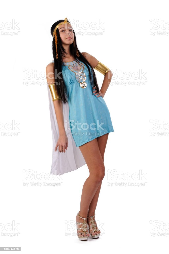 Attractive girl in Ancient Egyptian Cleopatra role stock photo