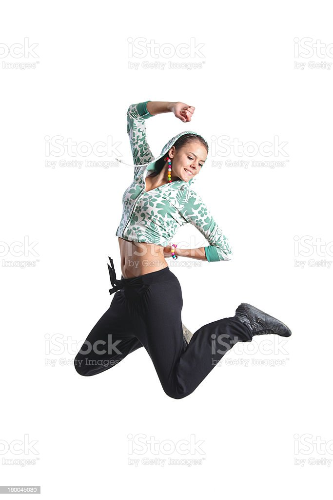 Attractive girl jumping in the air royalty-free stock photo