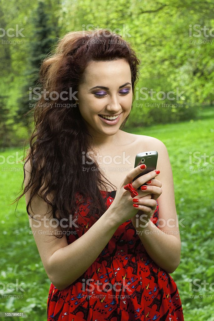 attractive girl on the phone royalty-free stock photo