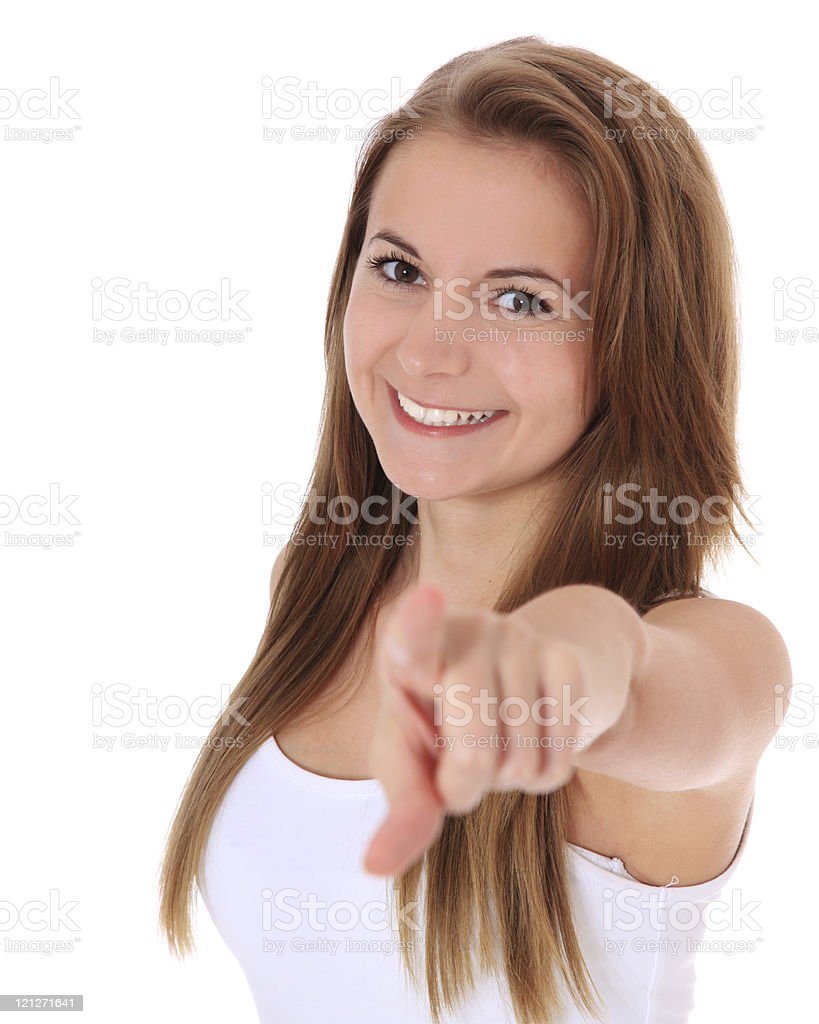 Attractive girl pointing with finger stock photo
