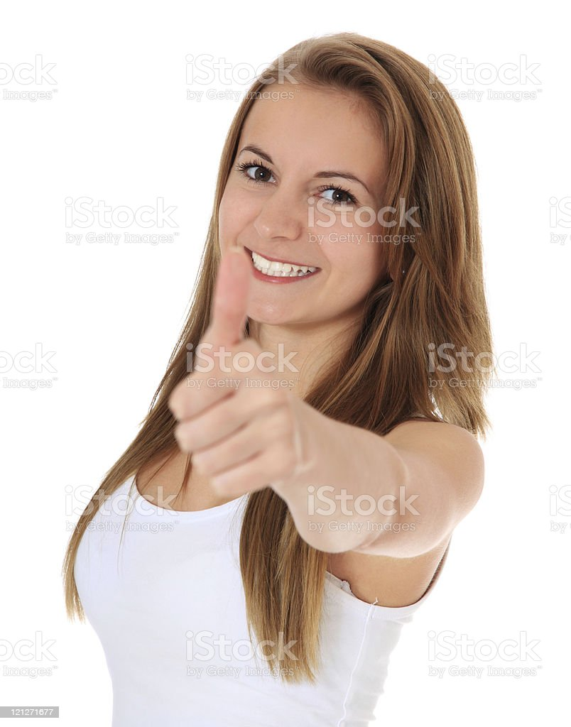 Attractive girl showing thumbs up stock photo