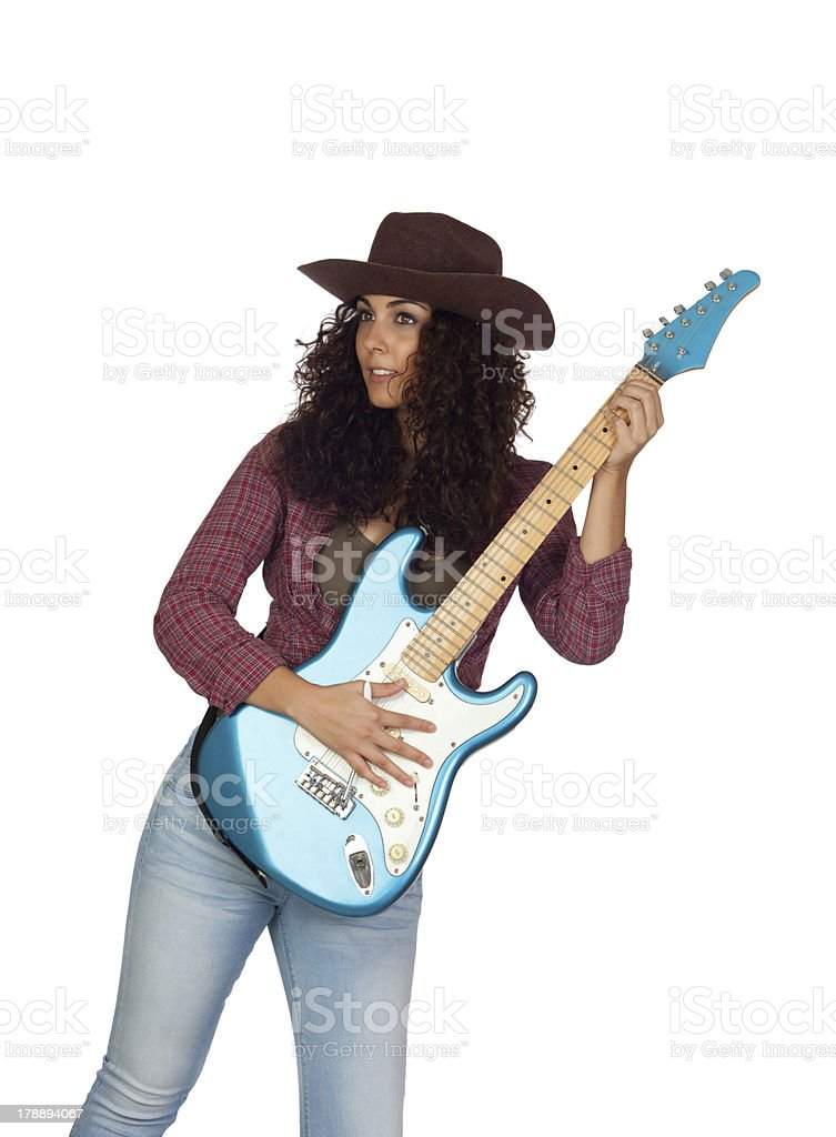 Attractive girl with electric guitar playing country music royalty-free stock photo