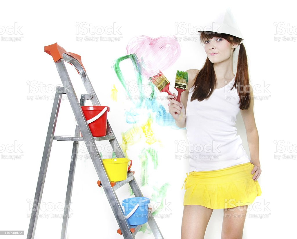 attractive girl with paintbrush over white royalty-free stock photo
