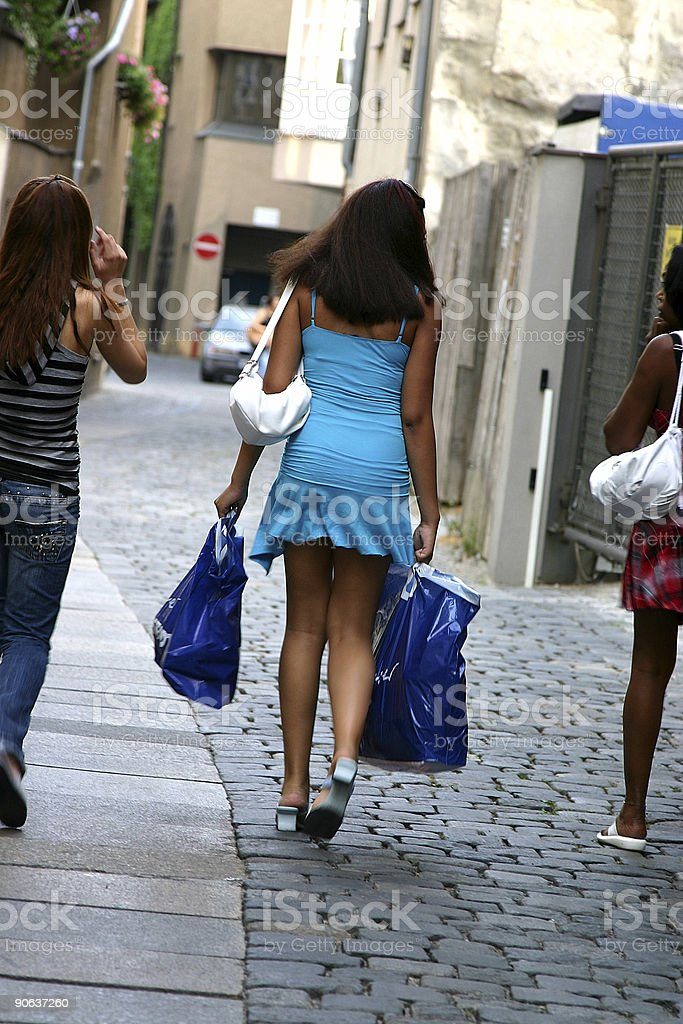 Attractive girls after shopping royalty-free stock photo