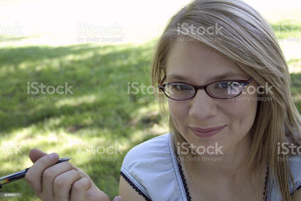 Attractive Glasses and Pen stock photo