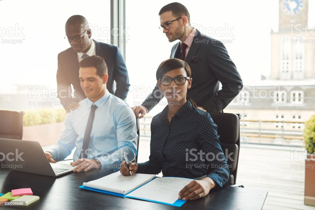 Attractive group of multiracial business people stock photo