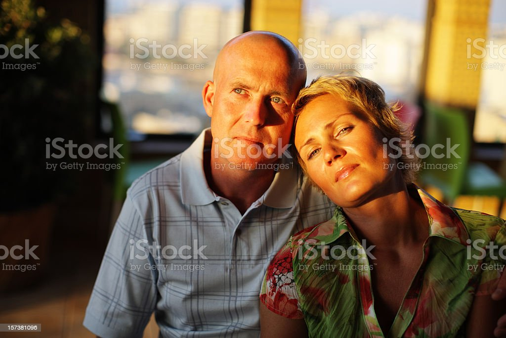 Attractive Happy mature couple in sunset light royalty-free stock photo