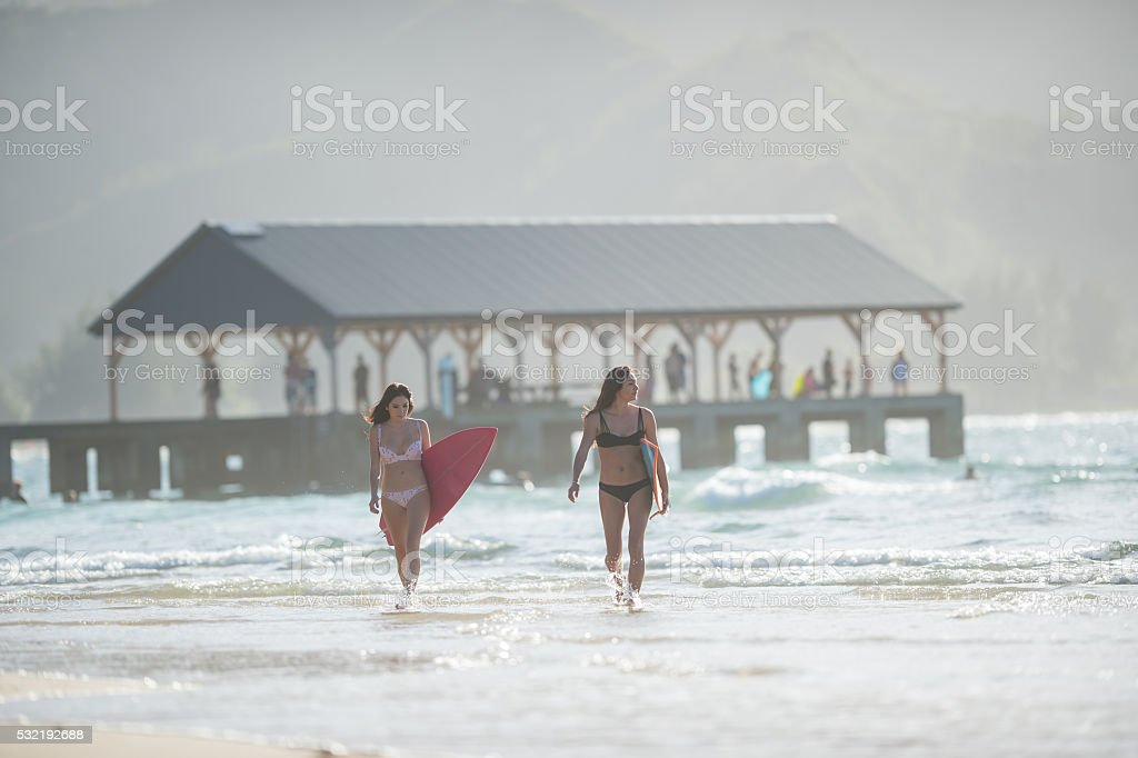 Attractive hawaiian female surfers at the beach stock photo